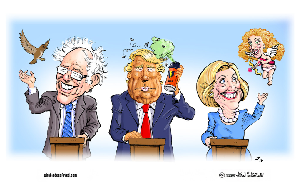 Bernie_Trump_Hillary_Editorial Cartoon